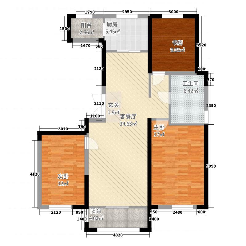 中房粹园32127.20㎡B户型3室2厅1卫1厨