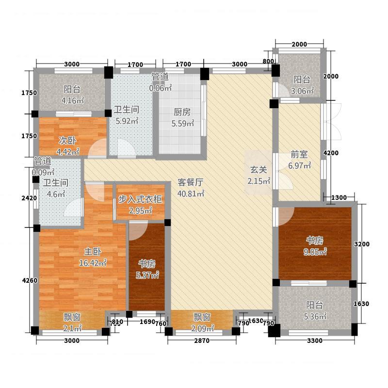 益田枫露136.20㎡三期D户型3室2厅2卫1厨