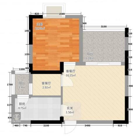 半岛阳光1室2厅0卫1厨42.40㎡户型图
