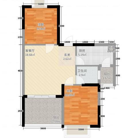 半岛阳光2室1厅1卫1厨55.73㎡户型图