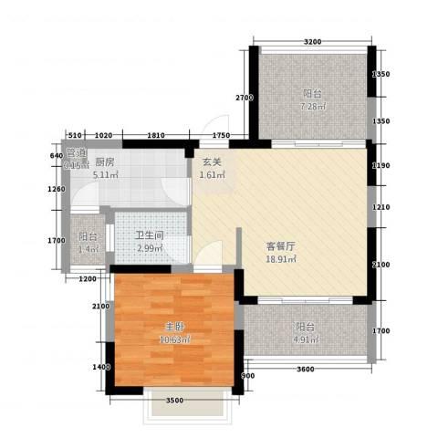 半岛阳光1室1厅1卫1厨51.38㎡户型图