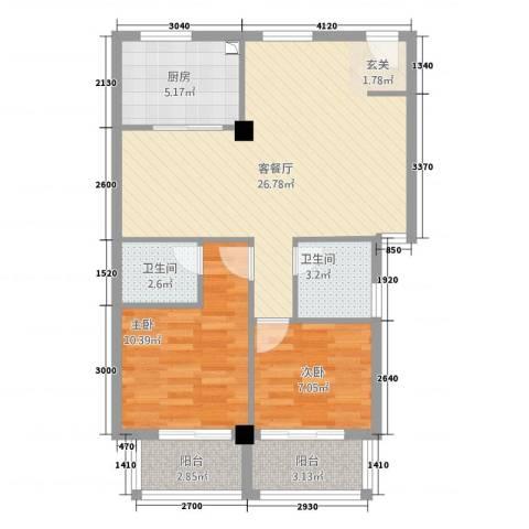 朝阳广场2室1厅2卫1厨88.00㎡户型图