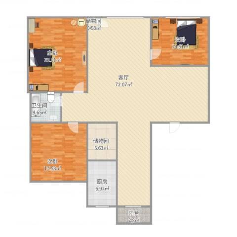亲亲家园3室1厅1卫1厨196.00㎡户型图