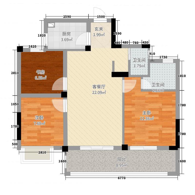 格林格林32288.20㎡E户型3室2厅2卫1厨