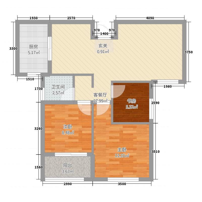 元正碧桂苑13.20㎡K-1户型3室2厅1卫1厨