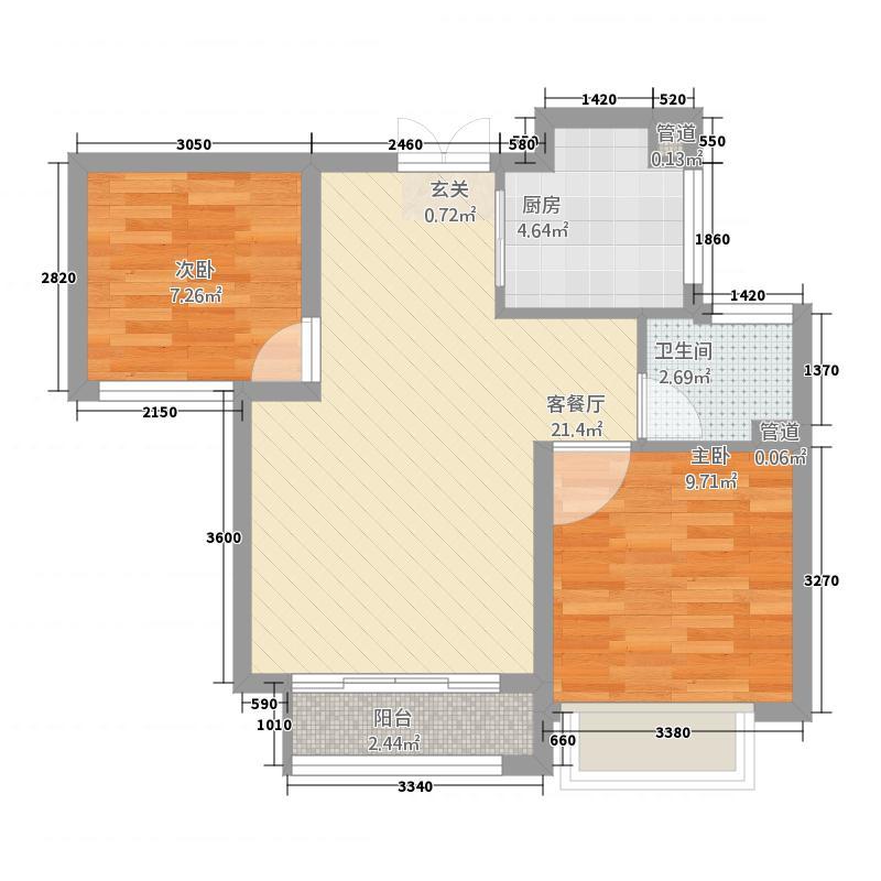 中南世纪雅苑16.20㎡一期1-17幢标准层A2户型2室2厅1卫1厨
