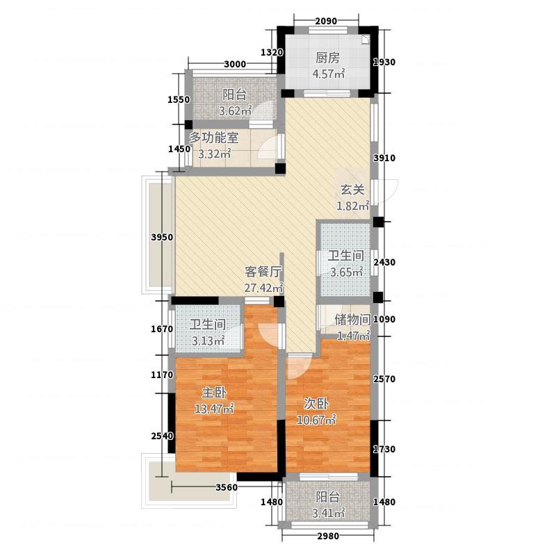 格林格林22211.20㎡D户型2室2厅2卫1厨