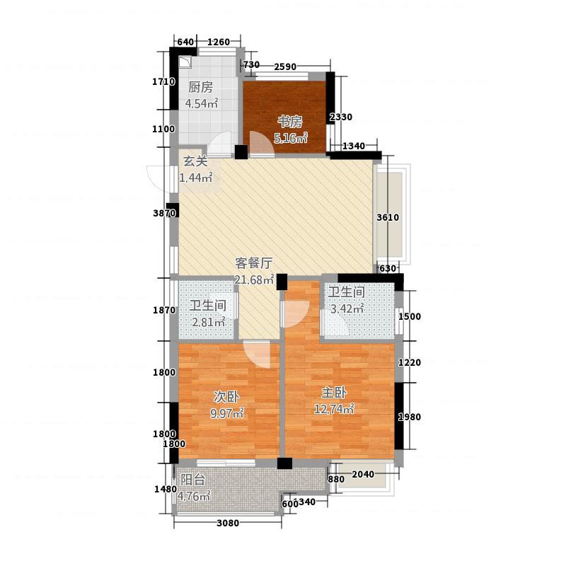 格林格林32288.20㎡B户型3室2厅2卫1厨