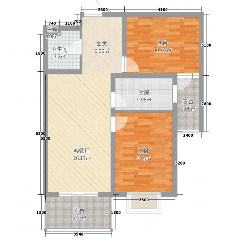 江南・御澜湾15.87㎡1#楼标准层E户型2室2厅1卫1厨
