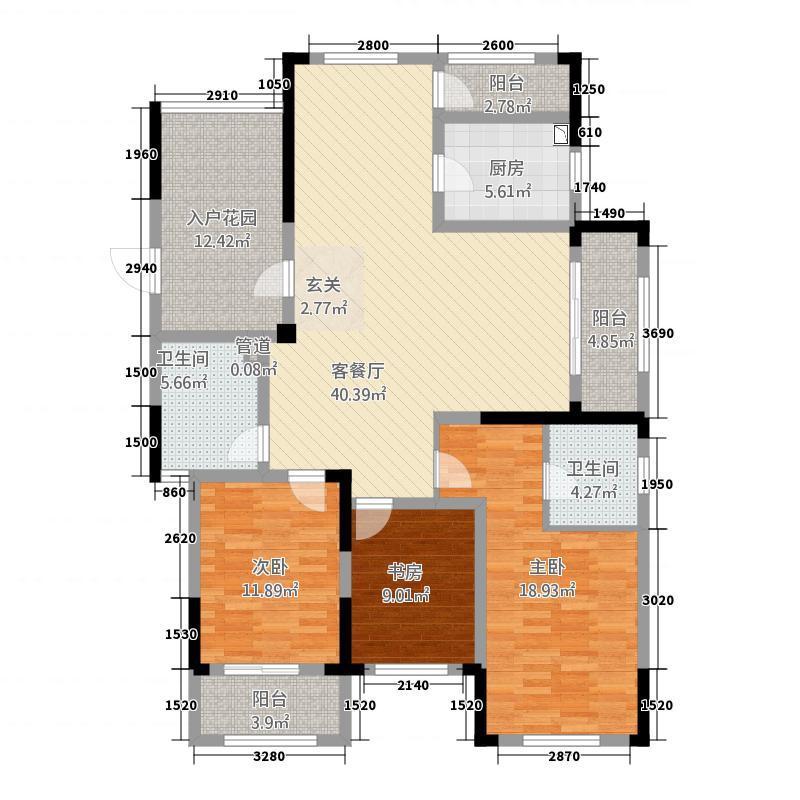 凯旋公馆32155.20㎡K户型3室2厅2卫1厨