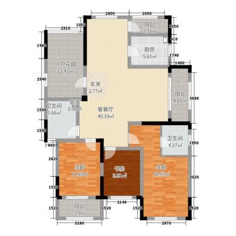 凯旋公馆3室1厅2卫1厨32155.00㎡户型图