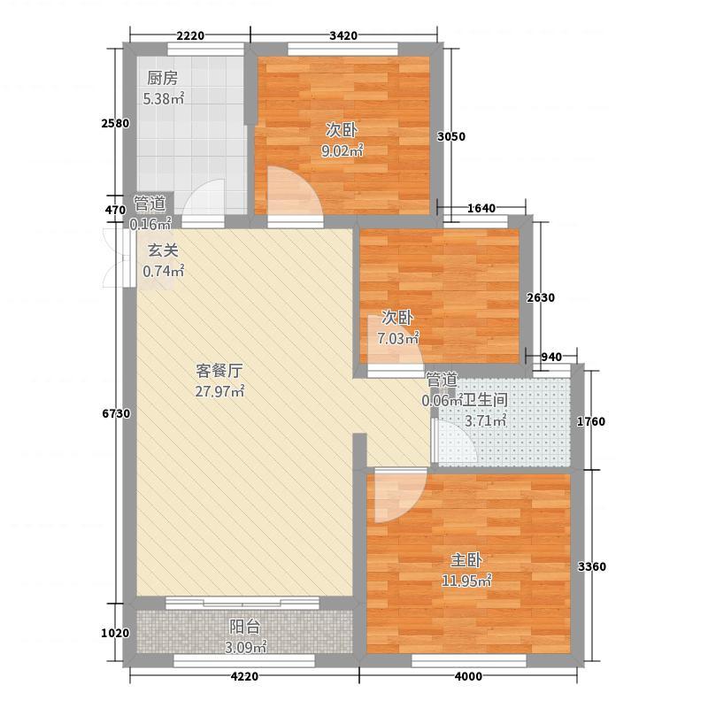 中南世纪雅苑18.20㎡一期1-17幢标准层B1户型3室2厅1卫1厨