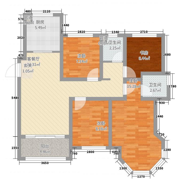 中南世纪雅苑112.20㎡一期1-17幢标准层C5户型4室2厅2卫1厨