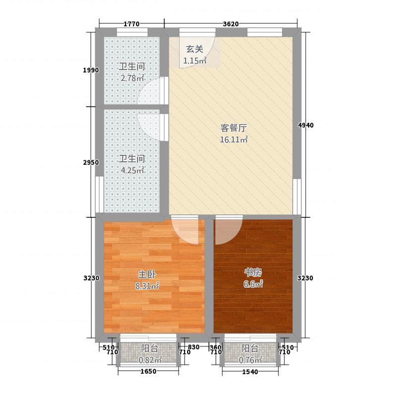 元正碧桂苑157.20㎡L-1户型2室2厅1卫1厨