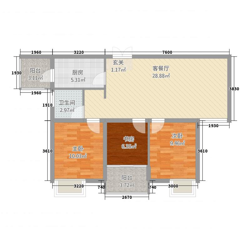 陶然新城5314.22㎡5-F户型3室2厅1卫