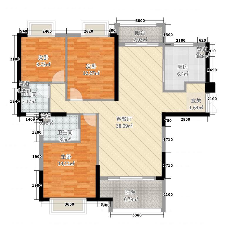 高科慧谷阳光1136.23㎡一期1栋B2户型3室2厅2卫1厨