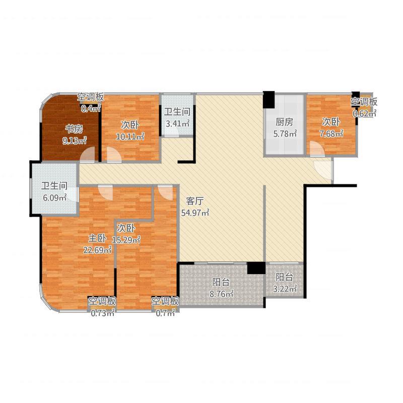 勤诚达22世纪二期 9号楼A/B座01户型4室2厅