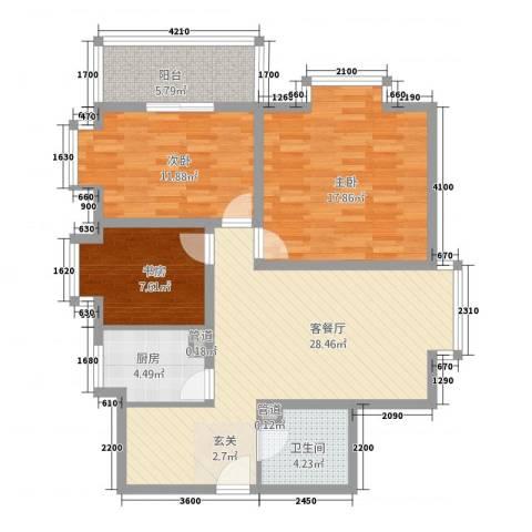 双威理想城二期3室1厅1卫1厨80.62㎡户型图