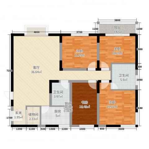 菁华时代4室1厅2卫1厨147.00㎡户型图