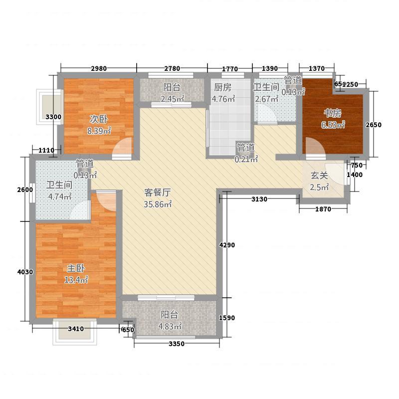 自然界12112.20㎡10号楼B2户型3室2厅2卫1厨