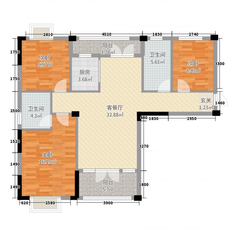鑫龙・中央公园122.20㎡户型3室2厅2卫1厨