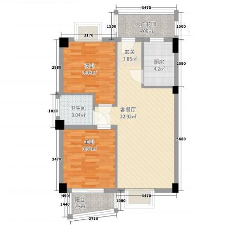 静海湾2室1厅1卫1厨664.00㎡户型图