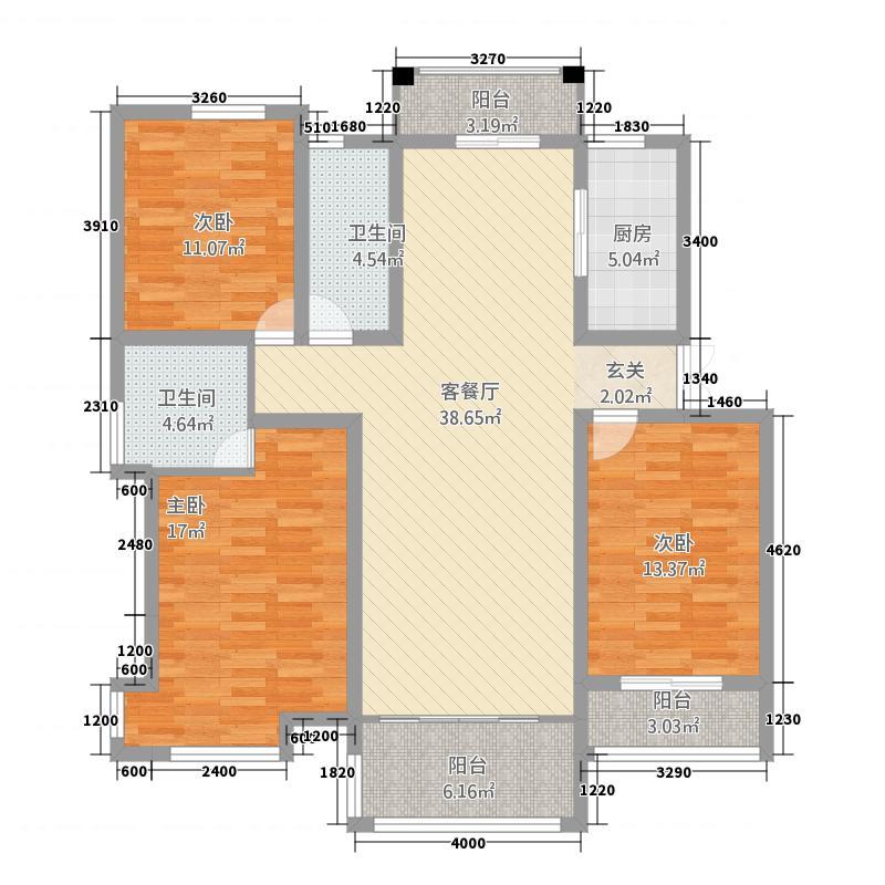 欣盛华庭131.20㎡户型3室2厅2卫1厨