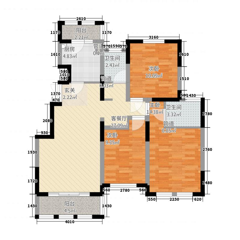 汇鑫・悦澜湾115.20㎡B户型3室2厅2卫1厨