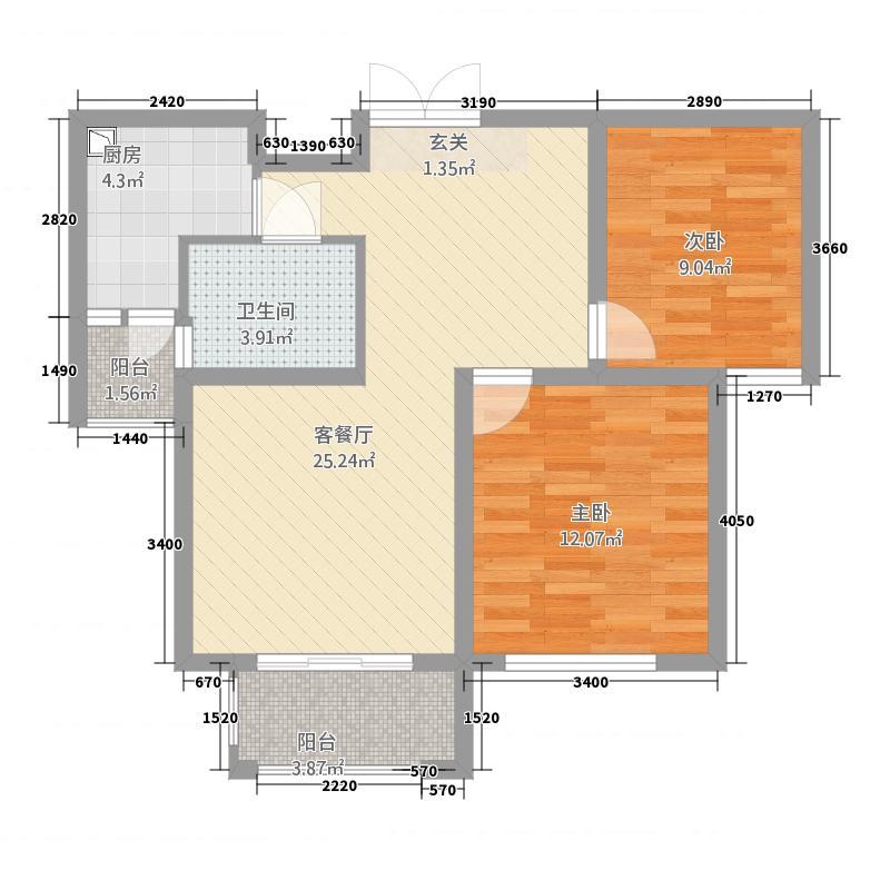 鑫苑景园88.15㎡M户型2室2厅1卫