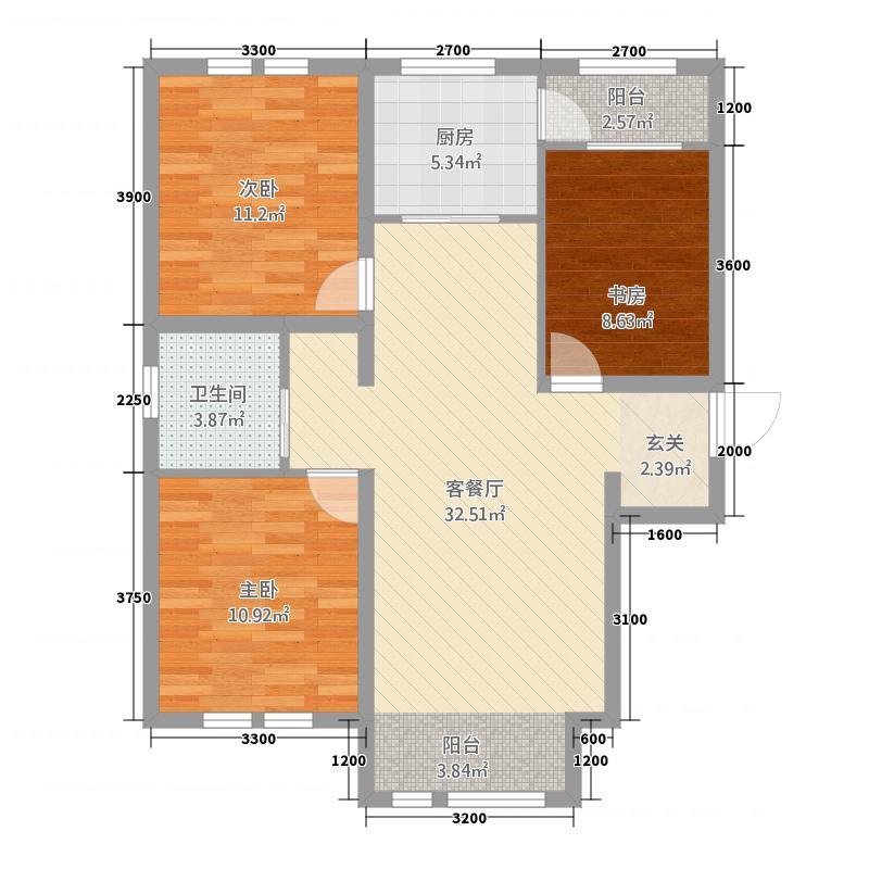 云岭青城・颐园1.73㎡E户型3室2厅1卫1厨