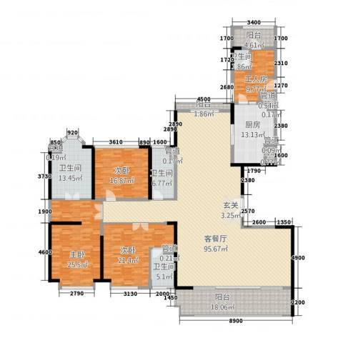 金地天玺3室1厅4卫1厨1212.00㎡户型图