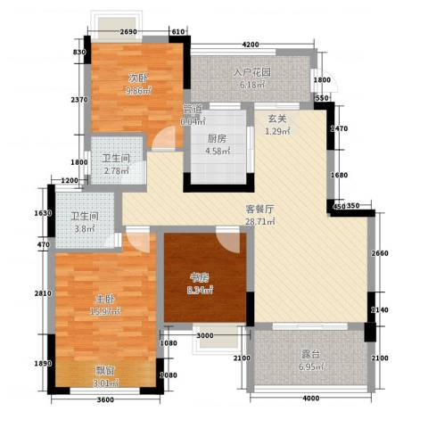 祥瑞・香山缘3室1厅2卫1厨87.20㎡户型图