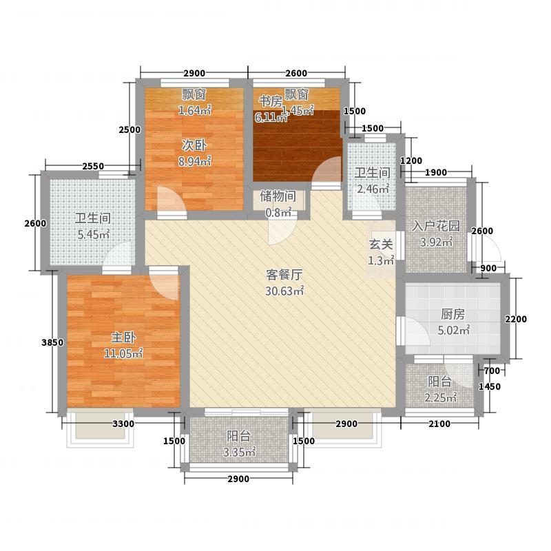 莱茵北郡328.20㎡3期2号楼标准层A2户型3室2厅2卫1厨