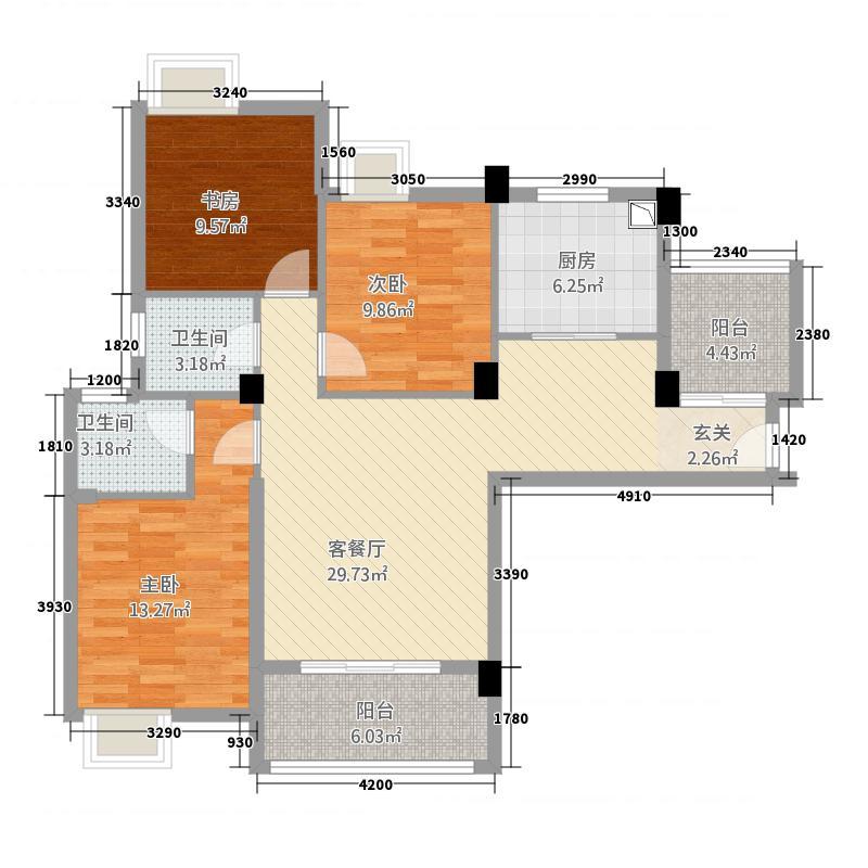 楚天尚城1312.20㎡B1户型3室2厅2卫1厨