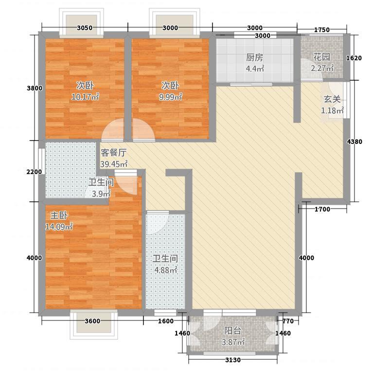汇金国际二期127.72㎡六号楼A户型3室2厅2卫1厨
