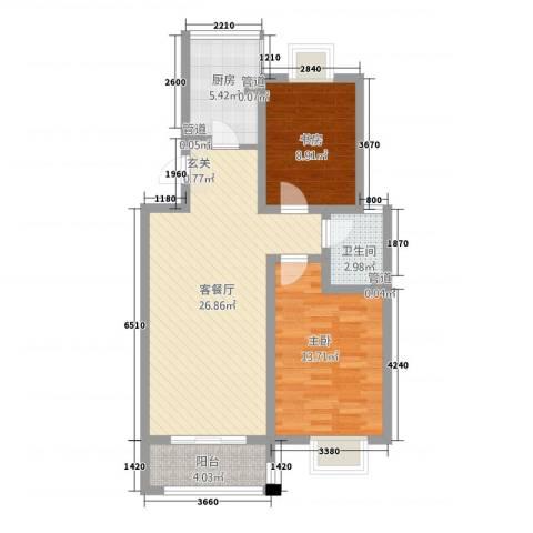 年丰花园2室1厅1卫1厨90.00㎡户型图