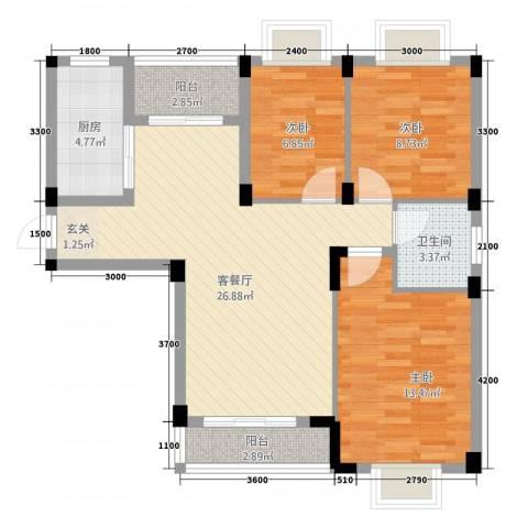 现代明珠新城加州国际3室1厅1卫1厨69.81㎡户型图