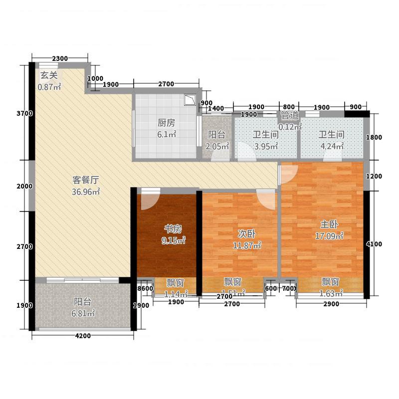 万科缤纷四季28113.20㎡南区28号楼02单元3室户型3室2厅2卫1厨