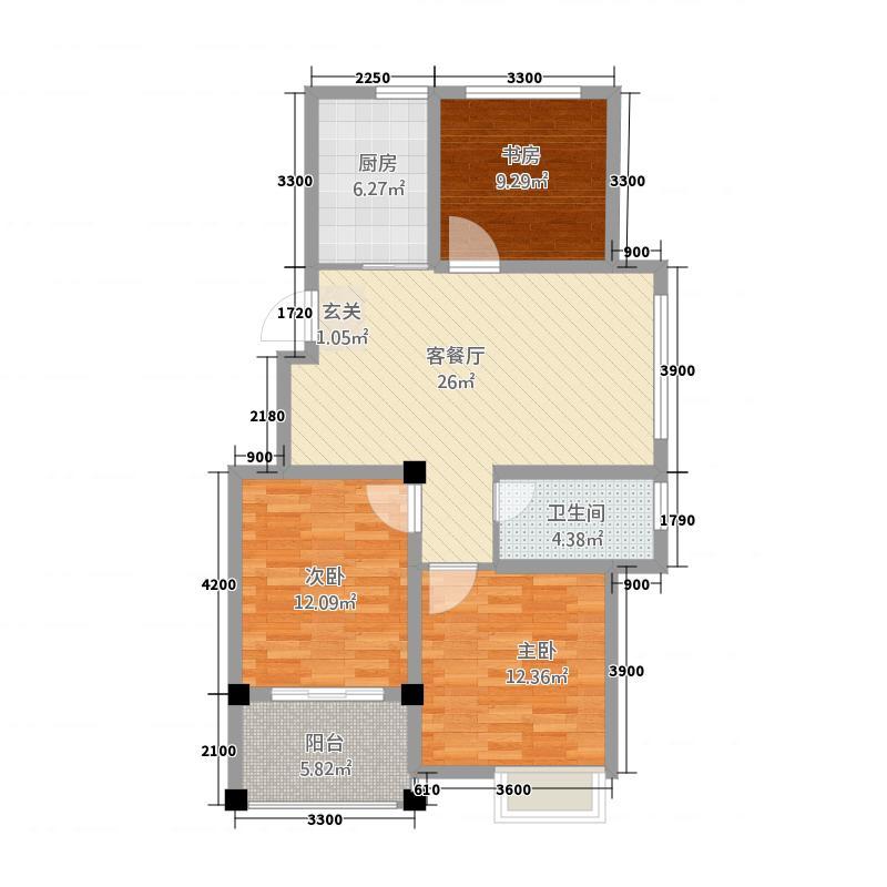 锦绣江南575.20㎡5#、7#小高层D户型3室2厅1卫1厨