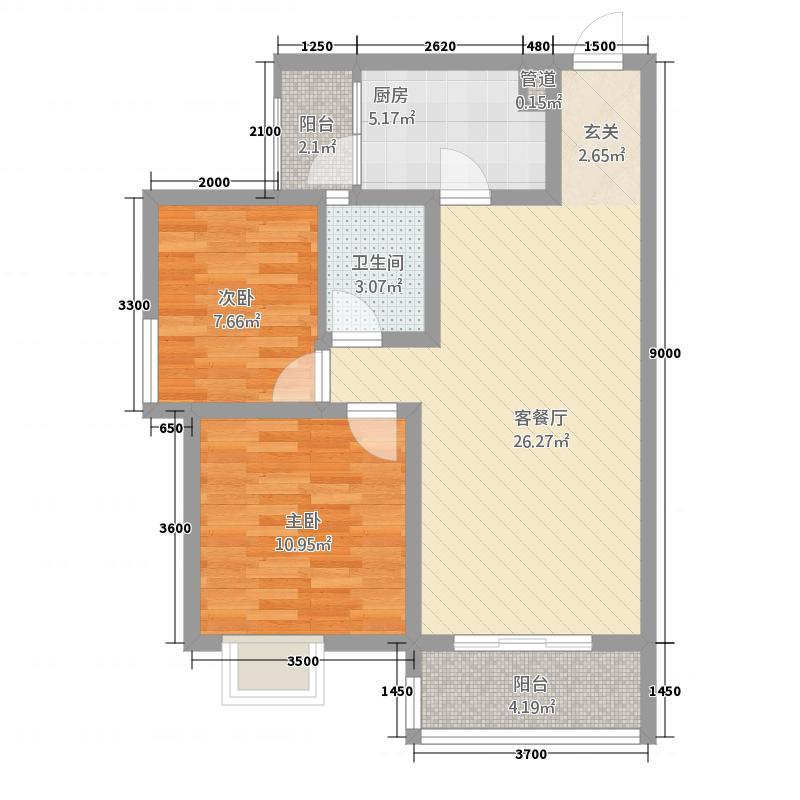 莱茵北郡327.20㎡3期2号楼标准层C2户型1室2厅1卫1厨