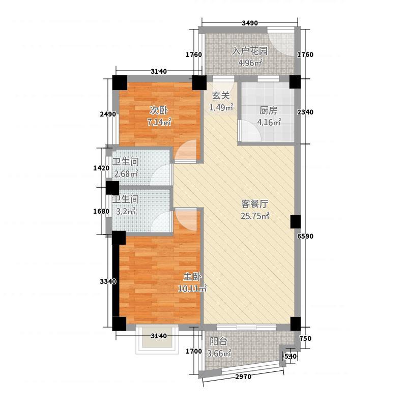 静海湾688.56㎡E户型2室2厅2卫1厨