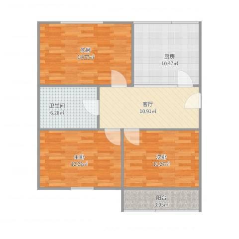 钓鱼台小区3室1厅1卫1厨94.00㎡户型图