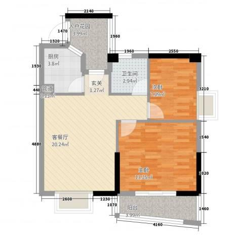 静海湾2室1厅1卫1厨78.00㎡户型图