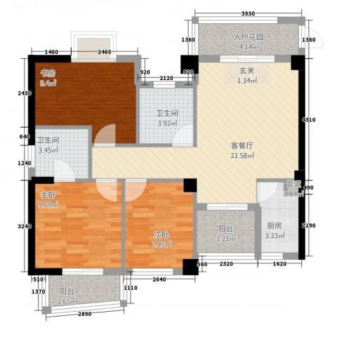 静海湾3室1厅2卫1厨68.96㎡户型图