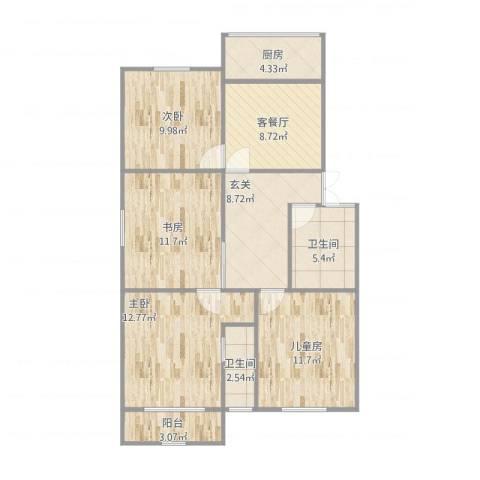 和平小区4室1厅2卫1厨108.00㎡户型图