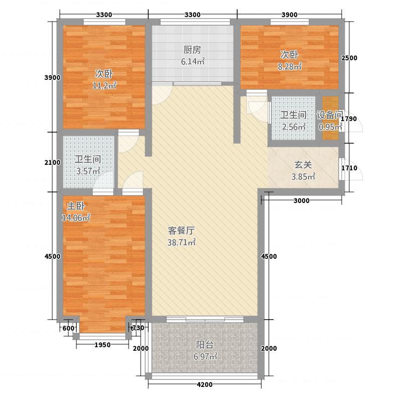 星河・文化大厦124.44㎡A、B户型3室2厅2卫