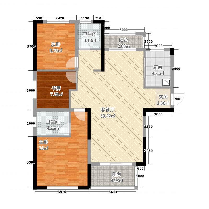 绿地中央花园128.20㎡莱茵浪漫户型3室2厅2卫1厨