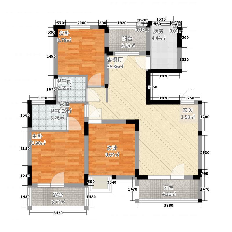 金地格林小城115.55㎡一期洋房3楼A户型3室2厅2卫1厨
