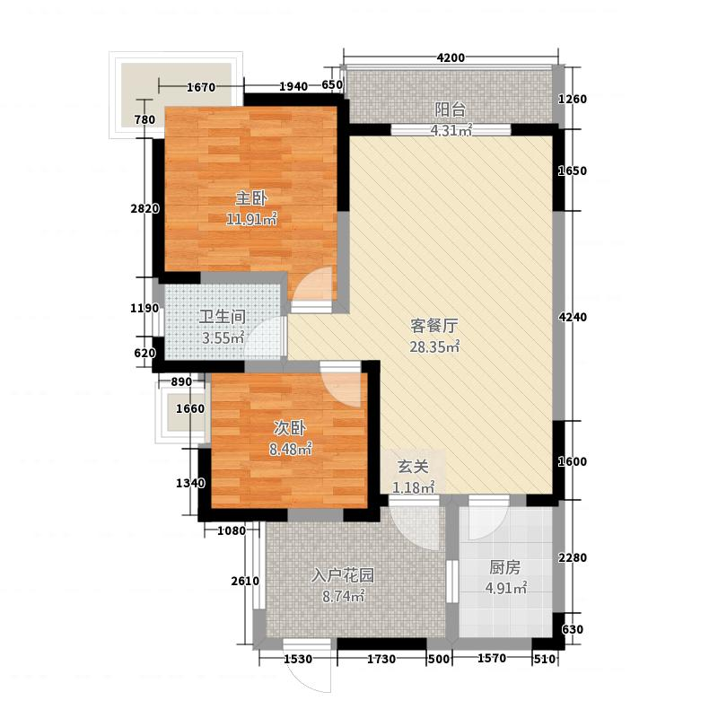 广泽东方威尼斯187.32㎡1号楼标准层B3户型2室2厅1卫1厨