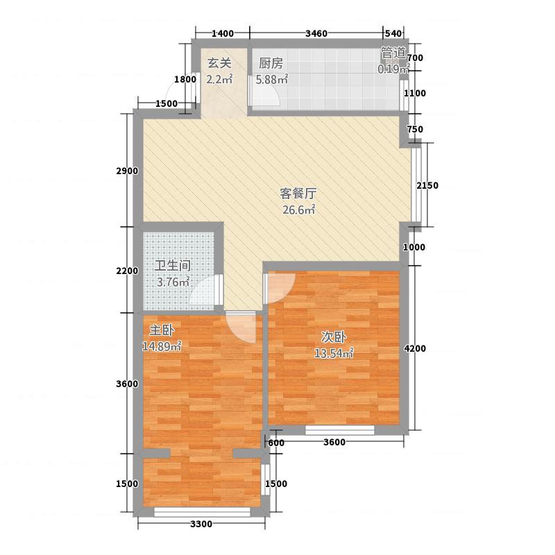 玫瑰湾二期・珑岸6.72㎡墅境高层B03/户型2室2厅1卫1厨